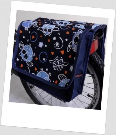 Baby-Joy Fahrradtasche JOY Kinderfahrradtasche Satteltasche Gepäckträgertasche 2 x 5 Liter 28 Owl 1 Navy Orange