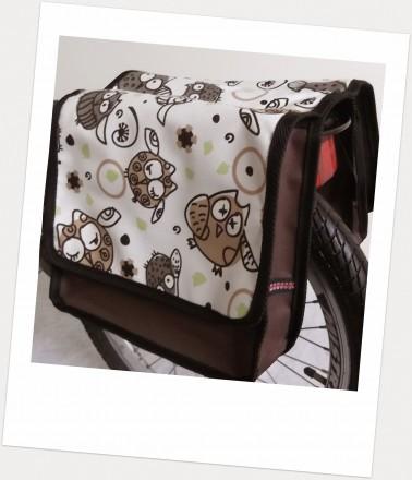 Baby-Joy Fahrradtasche JOY Kinderfahrradtasche Satteltasche Gepäckträgertasche 2 x 5 Liter 29 Owl 2 Braun-Creme