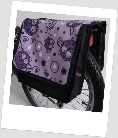 Baby-Joy Fahrradtasche JOY Kinderfahrradtasche Satteltasche Gepäckträgertasche 2 x 5 Liter 30 Owl 4 Lila-Creme