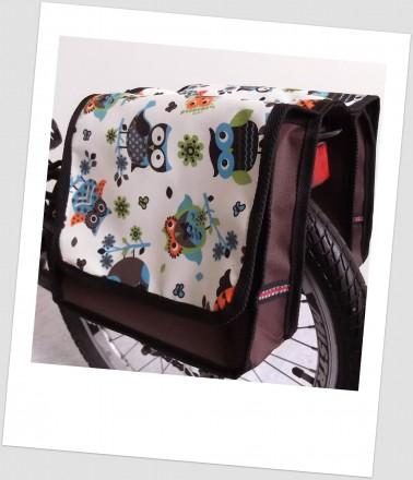 Baby-Joy Fahrradtasche JOY Kinderfahrradtasche Satteltasche Gepäckträgertasche 2 x 5 Liter 32 Owl 5 Türkis-Creme