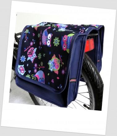 Baby-Joy Fahrradtasche JOY Kinderfahrradtasche Satteltasche Gepäckträgertasche 2 x 5 Liter 33 Owl 6 Navy-Bunt