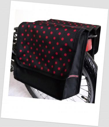Baby-Joy Fahrradtasche JOY Kinderfahrradtasche Satteltasche Gepäckträgertasche 2 x 5 Liter 34 Dots Little 1 Red