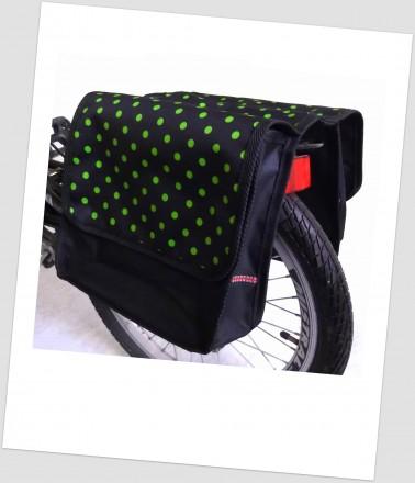 Baby-Joy Fahrradtasche JOY Kinderfahrradtasche Satteltasche Gepäckträgertasche 2 x 5 Liter 36 Dots Little 3 Green