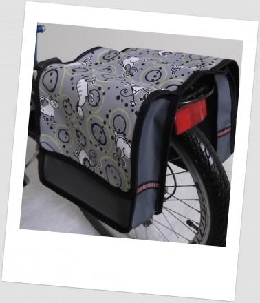 Baby-Joy Fahrradtasche JOY Kinderfahrradtasche Satteltasche Gepäckträgertasche 2 x 5 Liter 38 Comic Grey