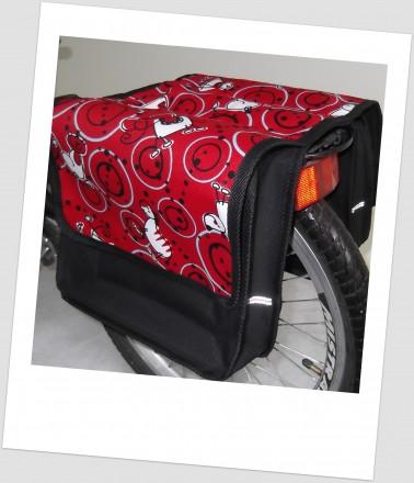 Baby-Joy Fahrradtasche JOY Kinderfahrradtasche Satteltasche Gepäckträgertasche 2 x 5 Liter 39 Comic Red
