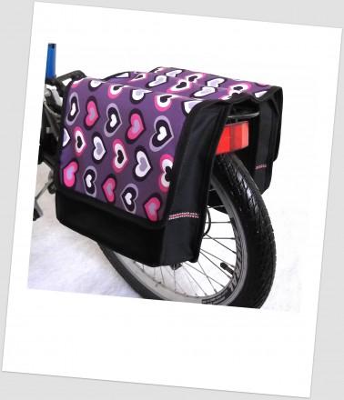 Baby-Joy Fahrradtasche JOY Kinderfahrradtasche Satteltasche Gepäckträgertasche 2 x 5 Liter 40 Heart Lila