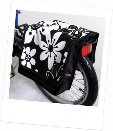 Baby-Joy Fahrradtasche JOY Kinderfahrradtasche Satteltasche Gepäckträgertasche 2 x 5 Liter 41 Flower White 3 Groß
