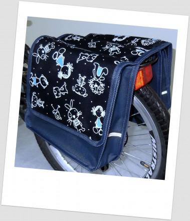 Baby-Joy Fahrradtasche JOY Kinderfahrradtasche Satteltasche Gepäckträgertasche 2 x 5 Liter 42 Comic Navy