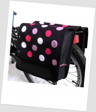 Baby-Joy Fahrradtasche JOY Kinderfahrradtasche Satteltasche Gepäckträgertasche 2 x 5 Liter 43 Dots 3 Black