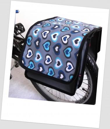 Baby-Joy Fahrradtasche JOY Kinderfahrradtasche Satteltasche Gepäckträgertasche 2 x 5 Liter 44 Heart Ocean