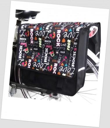 Baby-Joy Fahrradtasche JOY Kinderfahrradtasche Satteltasche Gepäckträgertasche 2 x 5 Liter 46 Rock Colour
