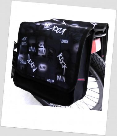 Baby-Joy Fahrradtasche JOY Kinderfahrradtasche Satteltasche Gepäckträgertasche 2 x 5 Liter 47 Rock White