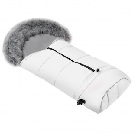 Gesteppter Luxus-Fußsack THOR mit Kunstfellkragen Kuschelfleece 115 cm | 11 Farben 20 Weiß