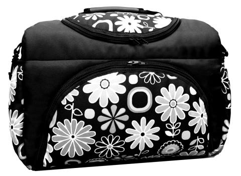 Wickeltasche PIA XXL Reisetasche Windeltasche Babytasche 02 Schwarz weiß Blumen