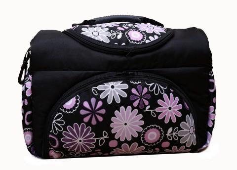 Wickeltasche PIA XXL Reisetasche Windeltasche Babytasche 15 Schwarz Lila Blumen