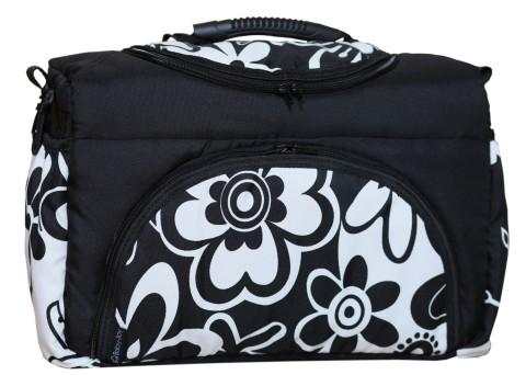 Wickeltasche PIA XXL Reisetasche Windeltasche Babytasche 17 Schwarz-Weiß Blumen II