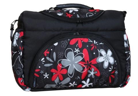 Wickeltasche PIA XXL Reisetasche Windeltasche Babytasche 23 Schwarz Rot Blumen III