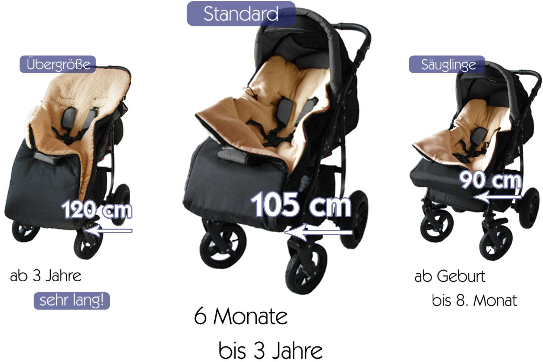 01 Braun Baby-Joy gesteppter Luxus Winter Thermo Fu/ßsack ODIN mit Kunstfell Kragen Soft Kuschel Fleece XL 105 cm